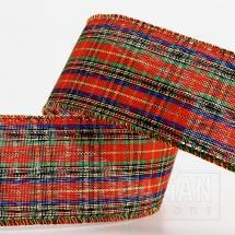Wired Edge Tartan Ribbon - 38mm x 10M