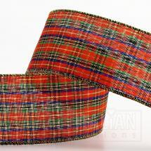 Wired Edge Tartan Ribbon - 50mm x 10M