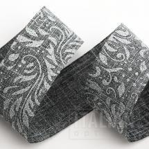 Silver Lurex Leaf Scroll Hessian Ribbon - 38mm x 10M - Grey