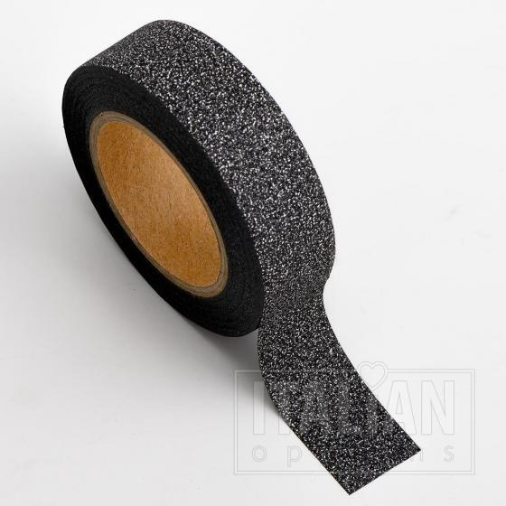 Adhesive Washi Tape - Glitter - Black 15mm x 10M