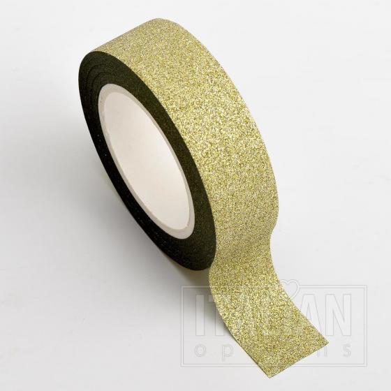 Adhesive Washi Tape - Glitter - Gold 15mm x 10M