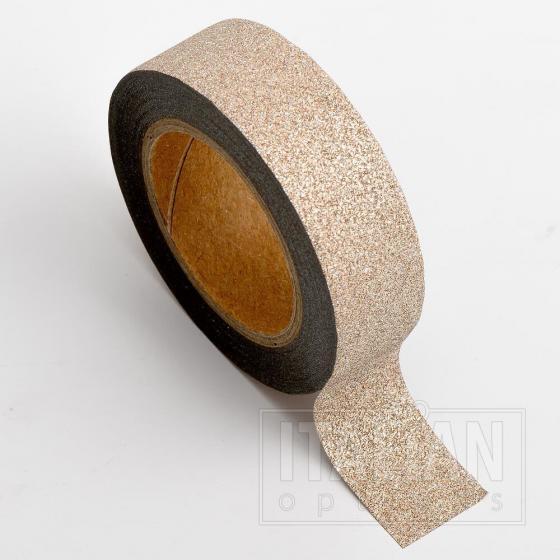 Adhesive Washi Tape - Glitter - Rose Gold 15mm x 10M