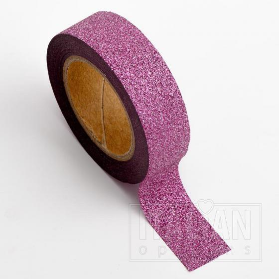 Adhesive Washi Tape - Glitter - Rose Pink 15mm x 10M