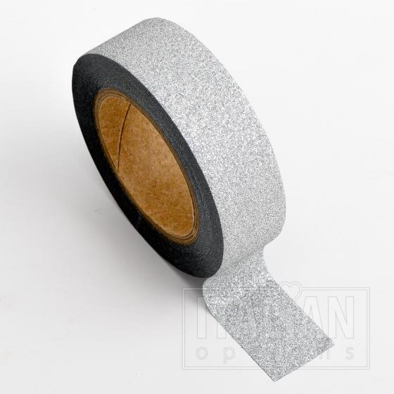 Adhesive Washi Tape - Glitter - Silver 15mm x 10M