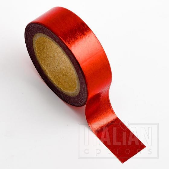 Adhesive Washi Tape - Foil - Red 15mm x 10M