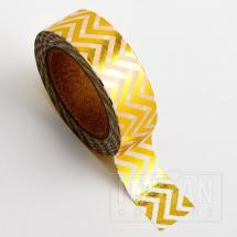 Adhesive Washi Tape - Foil Chevron - Gold 15mm x 10M