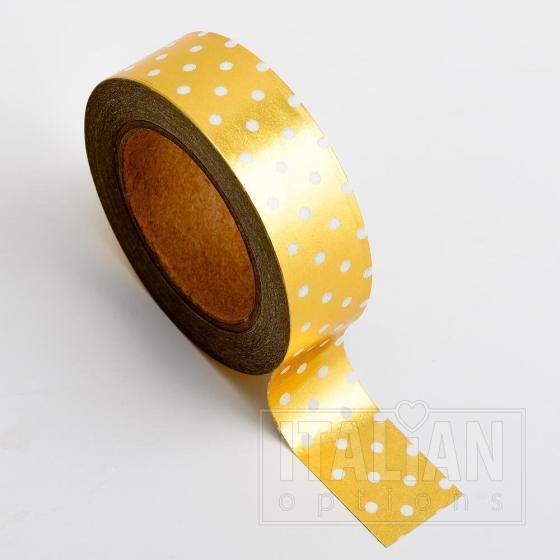 Adhesive Washi Tape - Foil Polka Dot - Gold 15mm x 10M