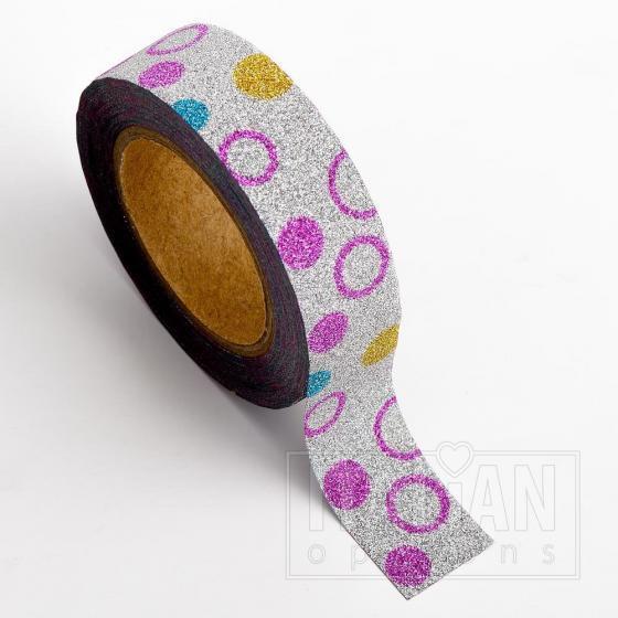 Adhesive Washi Tape - Glitter Circles - Mulit 15mm x 10M