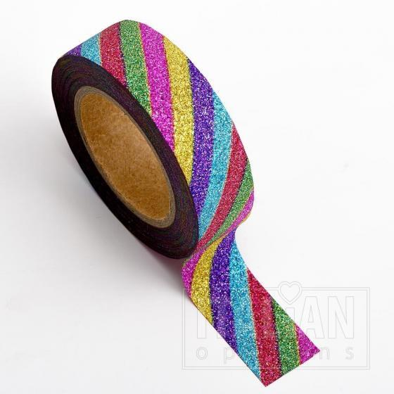 Adhesive Washi Tape - Glitter Stripe - Rainbow 15mm x 10M