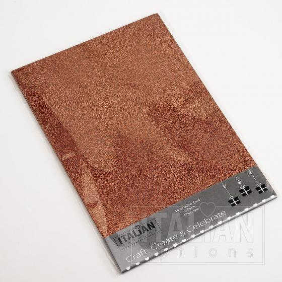 A4 Glitter Card - Chocolate (10 Pack)