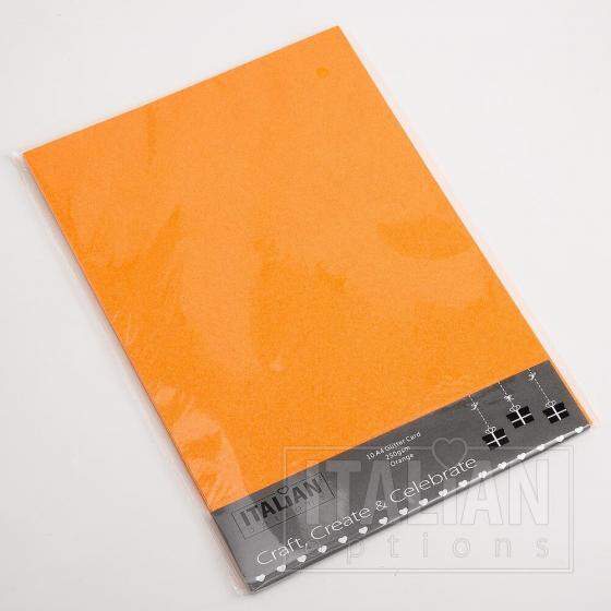 A4 Glitter Card - Orange (10 Pack)