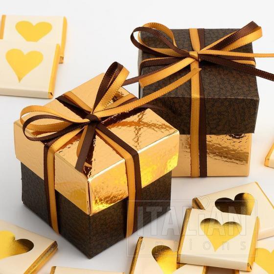 Brown Pelle & Gold Pelle Two Tone Box & Lids - 10 Pack