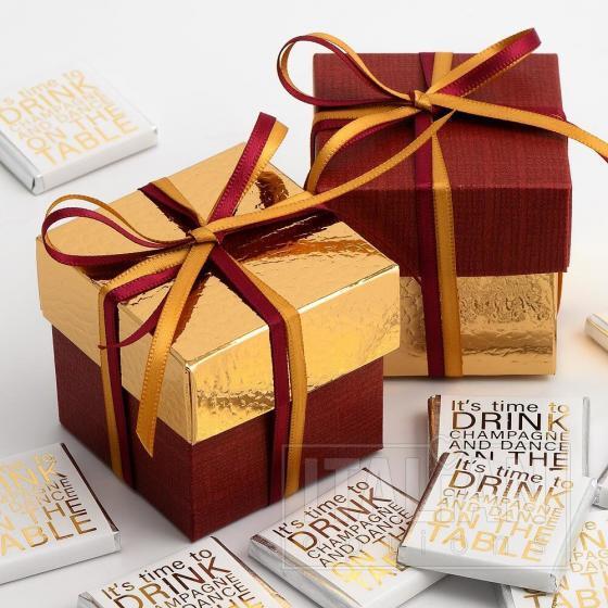 Bordeaux Silk & Gold Pelle Two Tone Box & Lids - 10 Pack