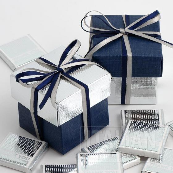 Navy Silk & Silver Silk Two Tone Box & Lids - 10 Pack