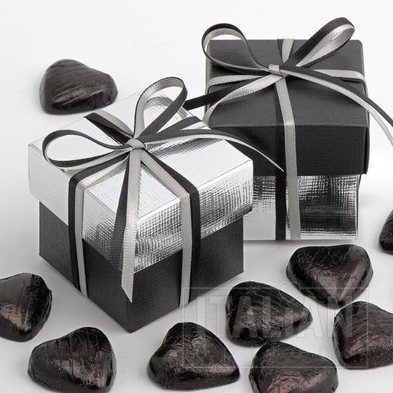 Black Silk & Silver Silk Two Tone Box & Lids - 10 Pack
