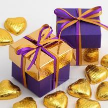 Purple Silk & Gold Pelle Two Tone Box & Lids - 10 Pack