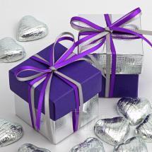 Purple Silk & Silver Silk Two Tone Box & Lids - 10 Pack