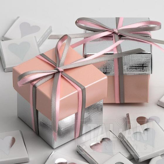 Pink Satin & Silver Silk Two Tone Box & Lids - 10 Pack