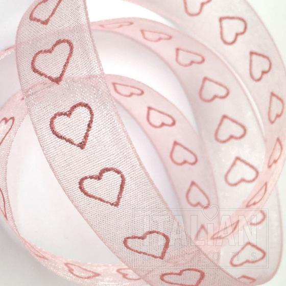 Lurex Heart Organza Woven Edge Ribbon 15mm x 10M Pink