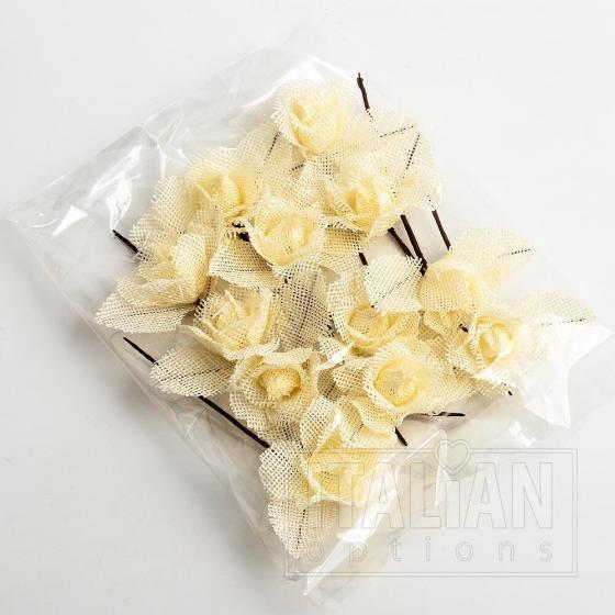 Hessian Rose - Cream (12 Pack)