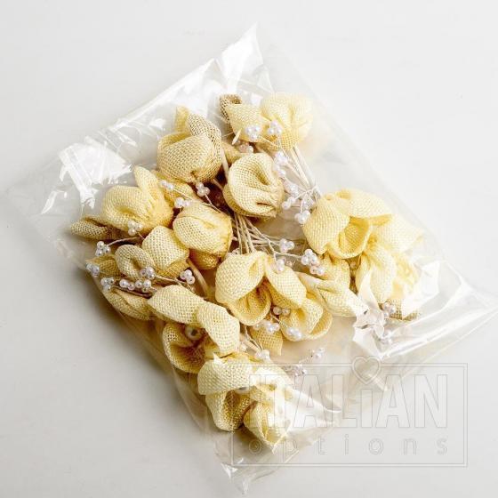 Hessian Flower Spray - Cream (12 Pack)