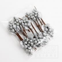 Glitter Berries Spray - Silver (12 Pack)