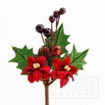 Poinsettia & Berries Spray - Burgundy (12 Pack)