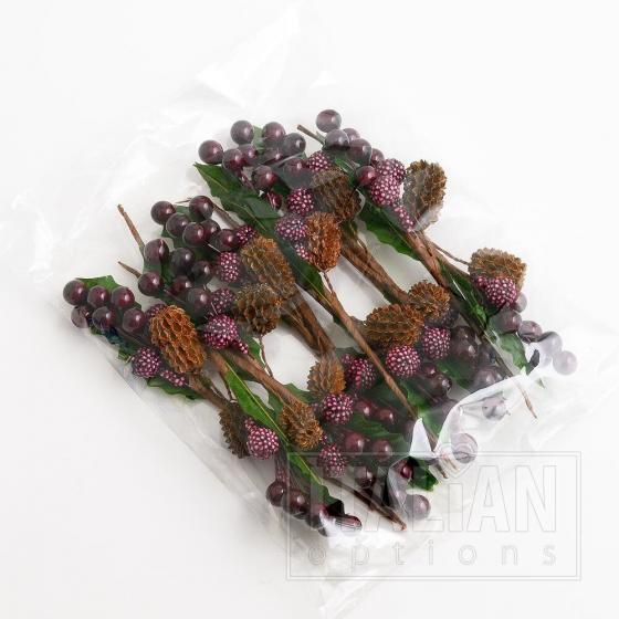 Mixed Berries Spray - Burgundy (12 Pack)