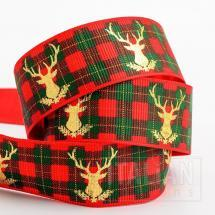 25mm Grosgrain Tartan Print/Gold Foil Stag x 10M - Red