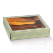Elegance Green Choc Box/Sleeve/Insert 145x145x35mm - 10 Pack