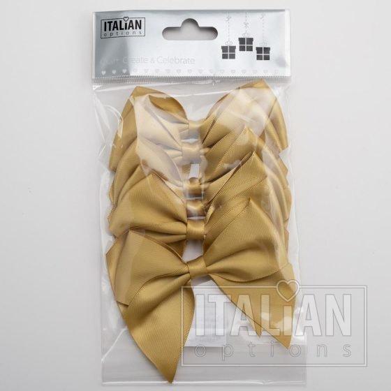 Gold - 10cm Satin Ribbon Bow - (Self Adhesive) - 6 Pack