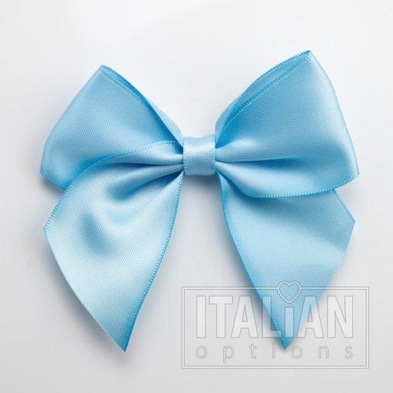 Pale Blue - 10cm Satin Ribbon Bow - (Self Adhesive) - 6 Pack