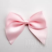 Pale Pink - 10cm Satin Ribbon Bow - (Self Adhesive) - 6 Pack
