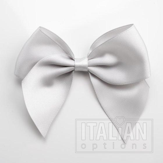 Silver - 10cm Satin Ribbon Bow - (Self Adhesive) - 6 Pack