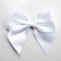White - 10cm Satin Ribbon Bow - (Self Adhesive) - 6 Pack