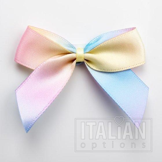 Pastel Rainbow - 5cm Satin Ribbon Bow - (Self Adhesive) - 12 Pack