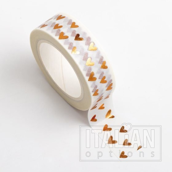 Adhesive Washi Tape - Foil - Hearts 15mm x 10m