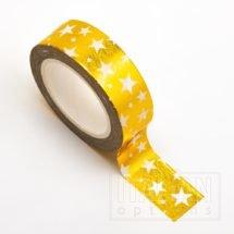 Adhesive Washi Tape - Foil Stars - Gold 15mm x 10m