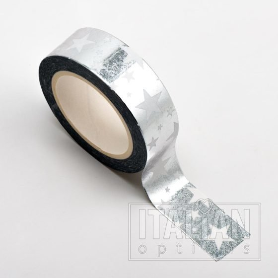 Adhesive Washi Tape - Foil Stars - Silver 15mm x 10m