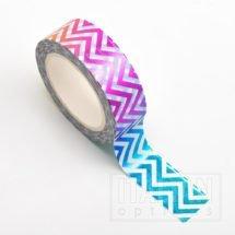 Adhesive Washi Tape - Foil - Chevron Rainbow 15mm x 10m