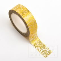 Adhesive Washi Tape - Foil - Rose Floral Gold 15mm x 10m
