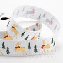 Golden Stag Christmas Grosgrain Ribbon - 16mm x 5M - White