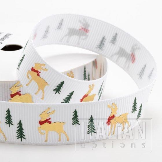 Golden Stag Christmas Grosgrain Ribbon - 16mm x 5M - White