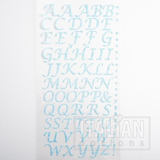 15mm - Script Self Adhesive Letters - Blue Glitter