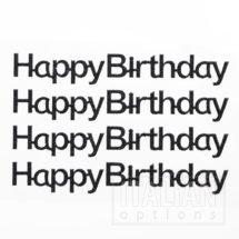Black Glitter 'Happy Birthday' on sheet - 1.1 x 10cm - (4 pcs)