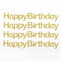 Gold Glitter 'Happy Birthday' on sheet - 1.1 x 10cm - (4 pcs)