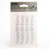 Silver Glitter'Happy Birthday' on sheet - 1.1 x 10cm - (4 pcs)