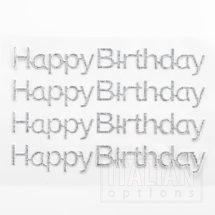 Silver Glitter 'Happy Birthday' on sheet - 1.1 x 10cm - (4 pcs)