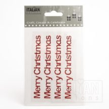 Red Glitter 'Merry Christmas' on sheet - 1 x 10cm - (4 pcs)