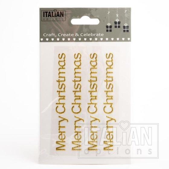 Gold Glitter 'Merry Christmas' on sheet - 1 x 10cm - (4 pcs)